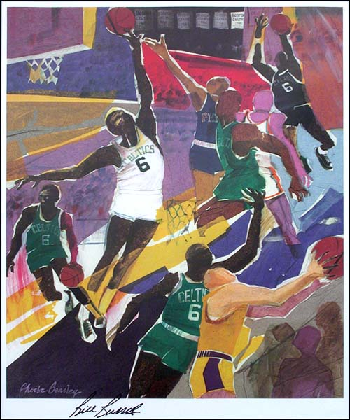 Bill Russell Signed Basketball Lithograph