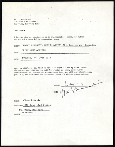 Original Jimmy Breslin Signed Contract
