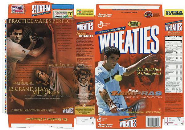 Pete Sampras Signed Wheaties Cereal Box