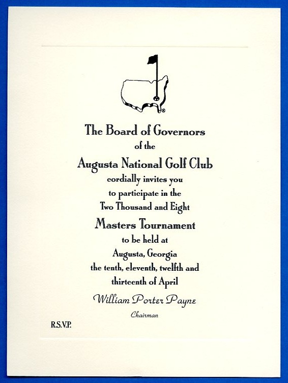 Lot Detail - 2008 Masters Tournament Participant Invitation