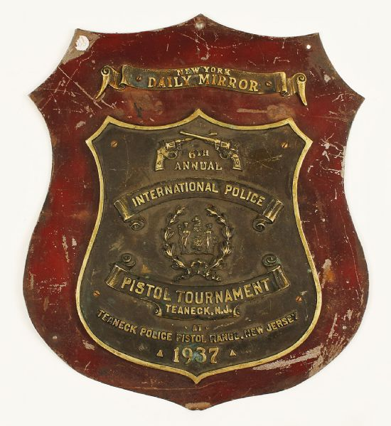 1937 New York Daily Mirror International Police Pistol Tournament Plaque