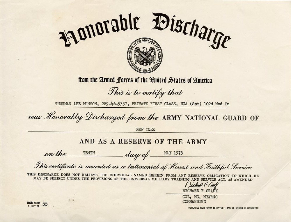 Item Detail Thurman Munsons Honorable Discharge Archive From