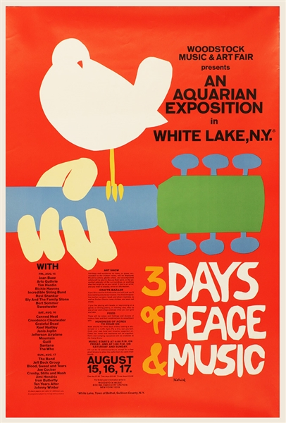 1969 Woodstock Festival Poster Scarce First Printing (24 X 36.5)