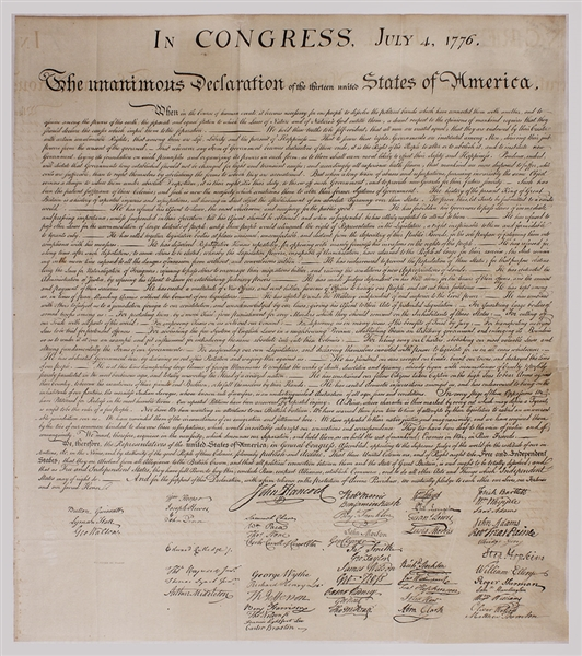 Declaration of Independence by Peter Force (1833) From W.J. Stone's Copper Plate