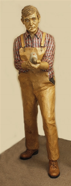 Vintage Lifesize Paper Mache Construction Worker Artwork