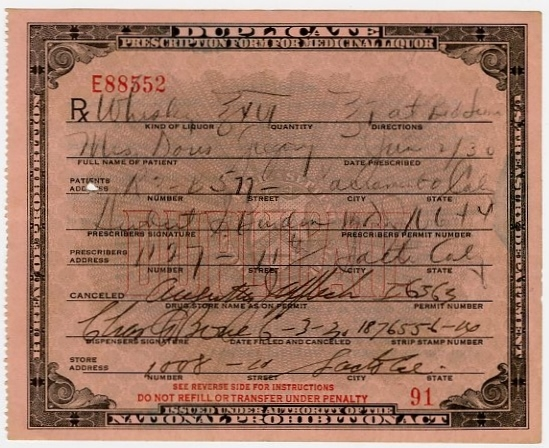 Original 1930 Prescription For Whiskey From Prohibition