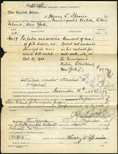 1900 Ellis Island Original Handwritten and Signed Construction Voucher