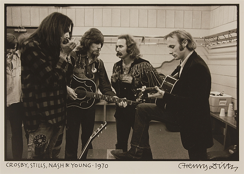 Crosby, Stills, Nash & Young Photograph Signed by Photographer Henry Diltz