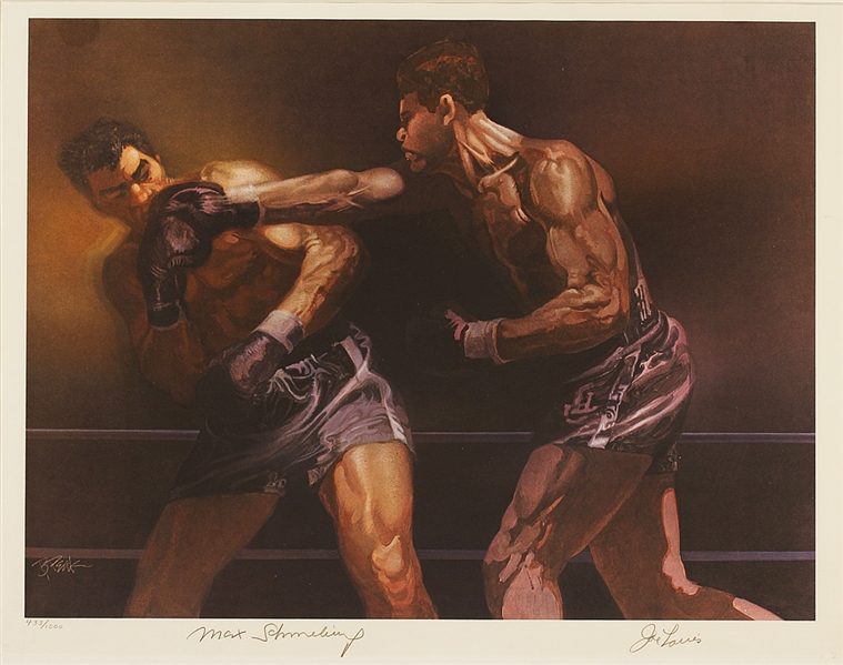 Joe Louis and Max Schmeling Signed Ltd. Edition Sports Illustrated Magazine Lithograph