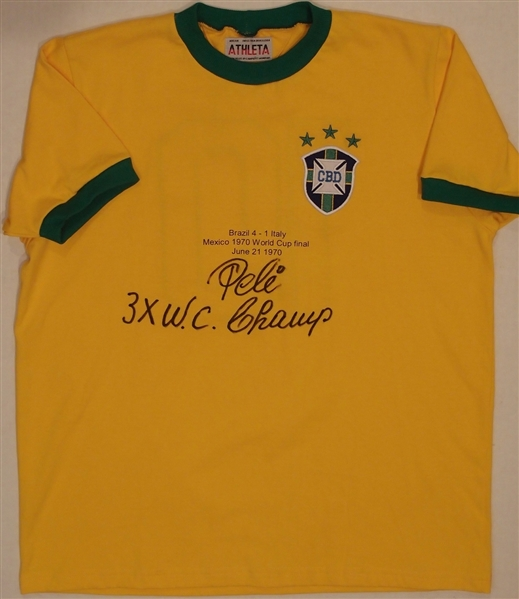 Pele Signed & Inscribed 3X World Champ 1970 World Cup Finals Jersey