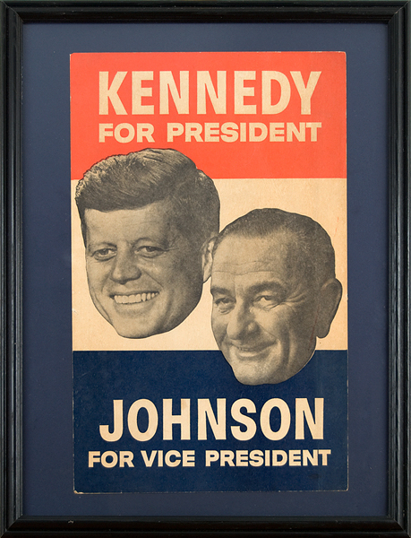 1960 Original Kennedy and Johnson Presidential Campaign Poster