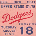 1953 Brooklyn Dodgers Ticket