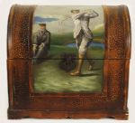 19th Century Golf Painting on Vintage Wooden Storage Trunk