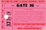 "1975 Notre Dame ""Rudy"" Season Football Ticket"