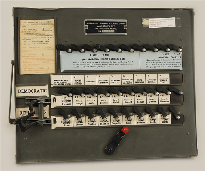 1956 Original Presidential Election Voting Machine Eisenhower vs Stevenson