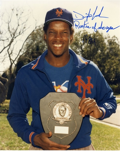 Dwight Gooden Signed & Inscribed Rookie of the Year Photograph