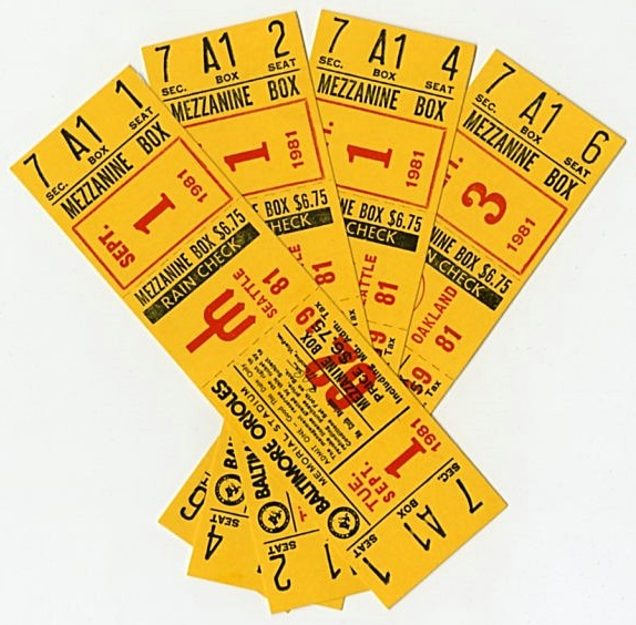 1981 Cal Ripken Pre-Rookie Baltimore Orioles Full Tickets (Group of 4)